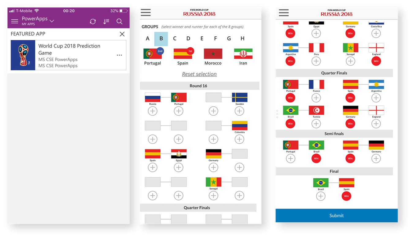 World Cup 2018 Prediction Game with PowerApps