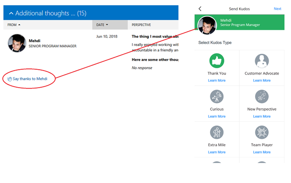 """This image shows our feedback back on the left. I received some feedback from my colleague Mehdi. Underneath his feedback is a link with the Kudos app icon that says """"Say Thanks to Mehdi"""". At right is the Kudos app, ready to send a Kudo to Mehdi"""
