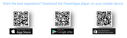 This image has 3 QR codes to download PowerApps from the iOS, Google, or Windows Phone stores