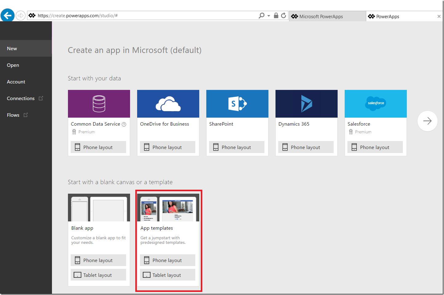 play videos in azure create apps from templates in a browser use app from template