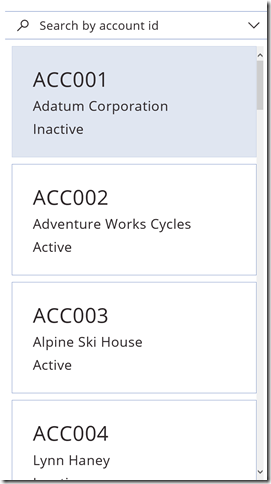 Entity form control being used in a phone app to display a list of accounts.