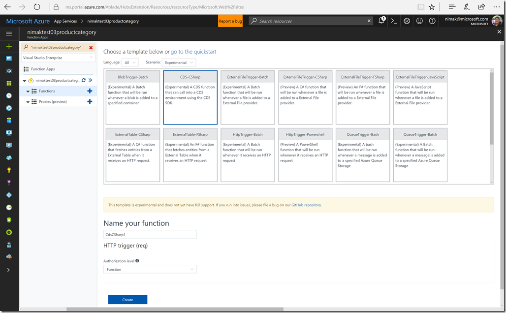Providing advanced functionality for powerapps with a preview of cds azure functions template new maxwellsz