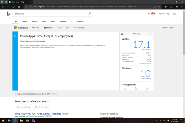 "This image shows a user signed into bing.com that has searched for ""time away"". The Thrive Time Away PowerApp is returned in the search results."