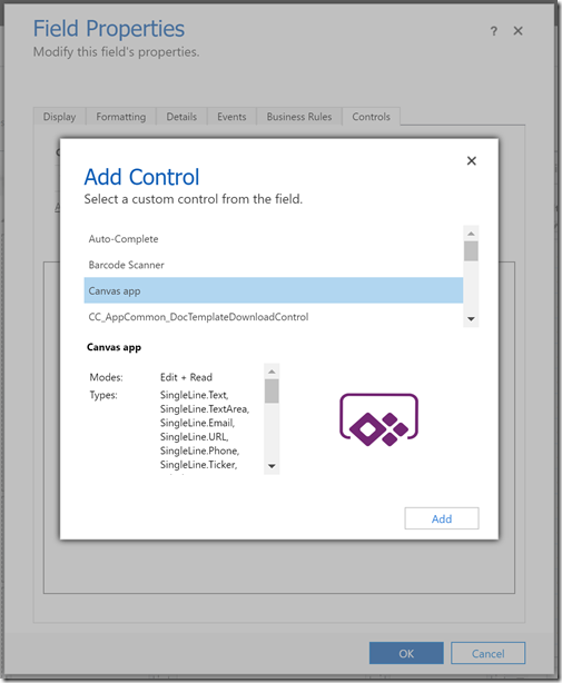 Configure the properties of the field or Sub-Grid control to use the Canvas app control
