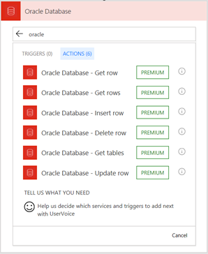 Flow Oracle Database actions
