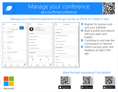 This image is a flyer for the Thrive Conference app. It has a vanity URL at the top, the app QR at the upper right, and PowerApps install QR codes at the bottom